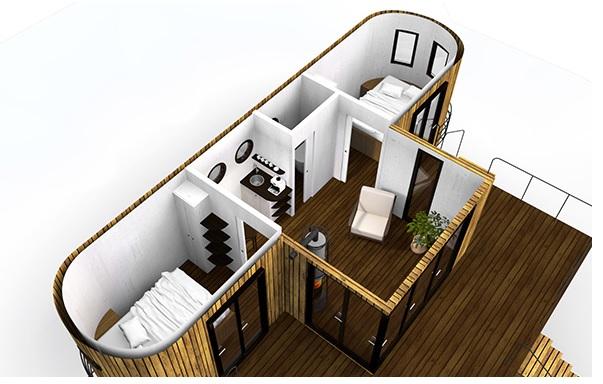 So sieht ein Beispiel-Wagon aus. Auch das Koppeln mit einem weiteren zum Vergrößern der Wohnfläche ist denkbar. (Foto: Wohnwagon)