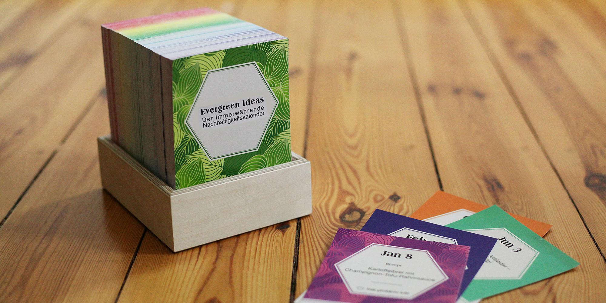 Immerwährender Kalender mit Nachhaltigkeitstipps (Foto: Evergreen Ideas)