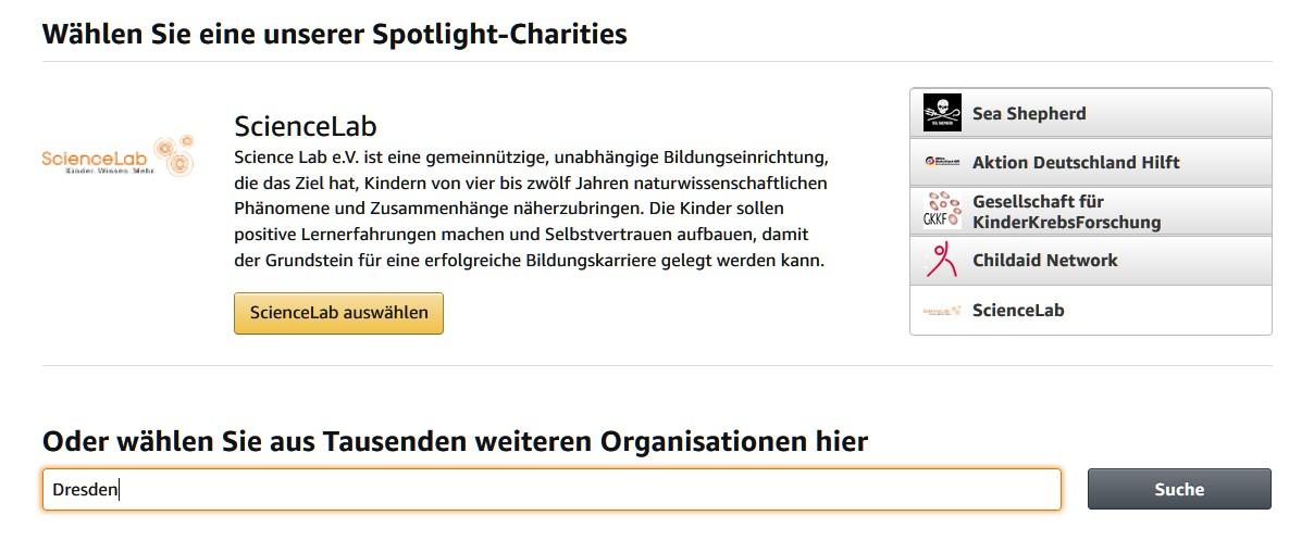Wählt eine favorisierte Organisation aus. (Foto: Screenshot)