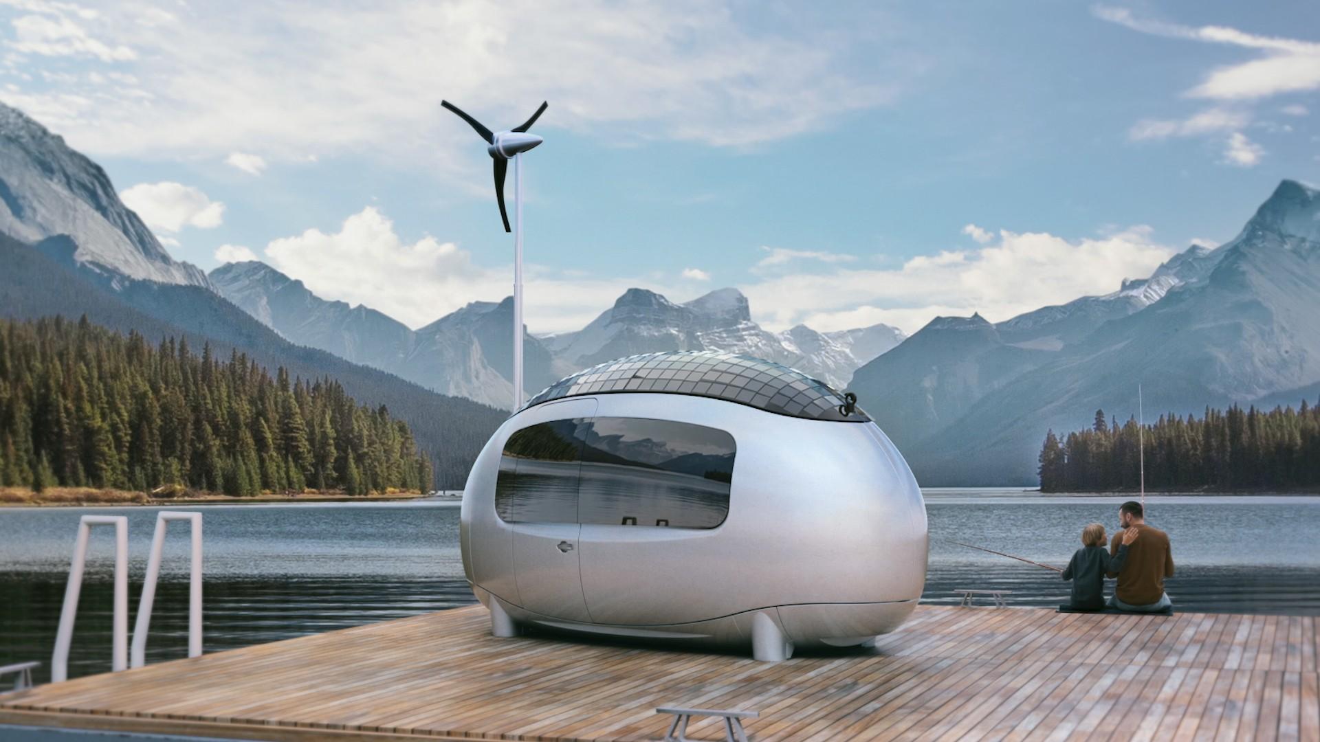 Das Ecocapsule Original mit Windrad und Bad kostet mindestens 80.000 Euro. (Foto: Ecocapsule)